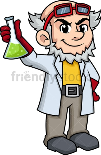 Crazy scientist holding vial. PNG - JPG and vector EPS (infinitely scalable). Image isolated on transparent background.