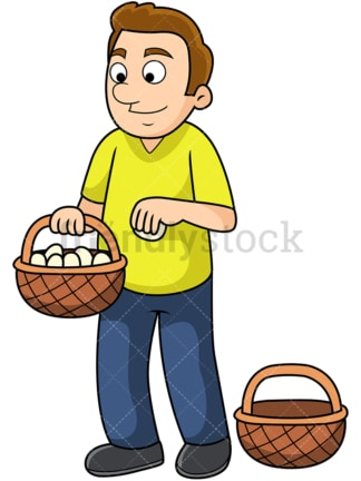 Man putting all eggs in one basket. PNG - JPG and vector EPS file formats (infinitely scalable). Image isolated on transparent background.