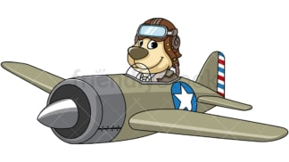 Dog character flying airplane. PNG - JPG and vector EPS (infinitely scalable). Image isolated on transparent background.