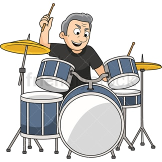 Old man playing drums. PNG - JPG and vector EPS file formats (infinitely scalable). Image isolated on transparent background.
