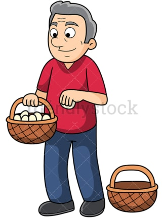 Old man putting all eggs in one basket. PNG - JPG and vector EPS file formats (infinitely scalable). Image isolated on transparent background.