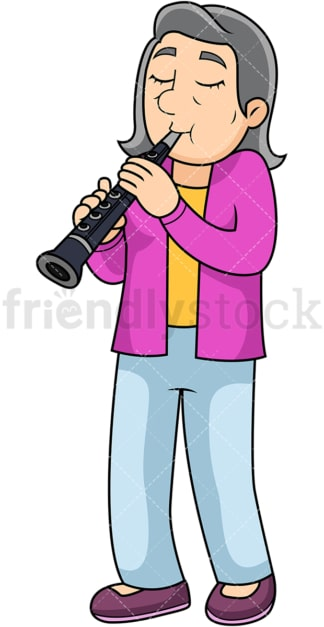 Old woman playing clarinet. PNG - JPG and vector EPS file formats (infinitely scalable). Image isolated on transparent background.