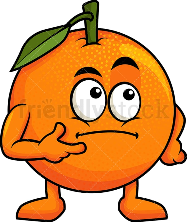 Orange cartoon character thinking. PNG - JPG and vector EPS (infinitely scalable). Image isolated on transparent background.