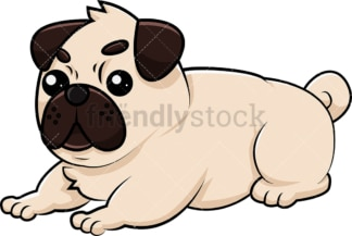 Playful pug dog. PNG - JPG and vector EPS (infinitely scalable). Image isolated on transparent background.
