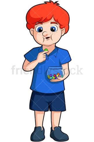 Redhead boy eating chocolates. PNG - JPG and vector EPS (infinitely scalable). Image isolated on transparent background.