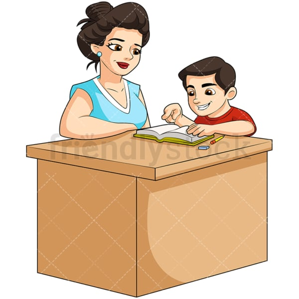 Teacher helping student with homework. PNG - JPG and vector EPS (infinitely scalable). Image isolated on transparent background.