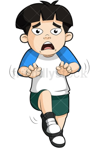 Terrified young child. PNG - JPG and vector EPS (infinitely scalable). Image isolated on transparent background.