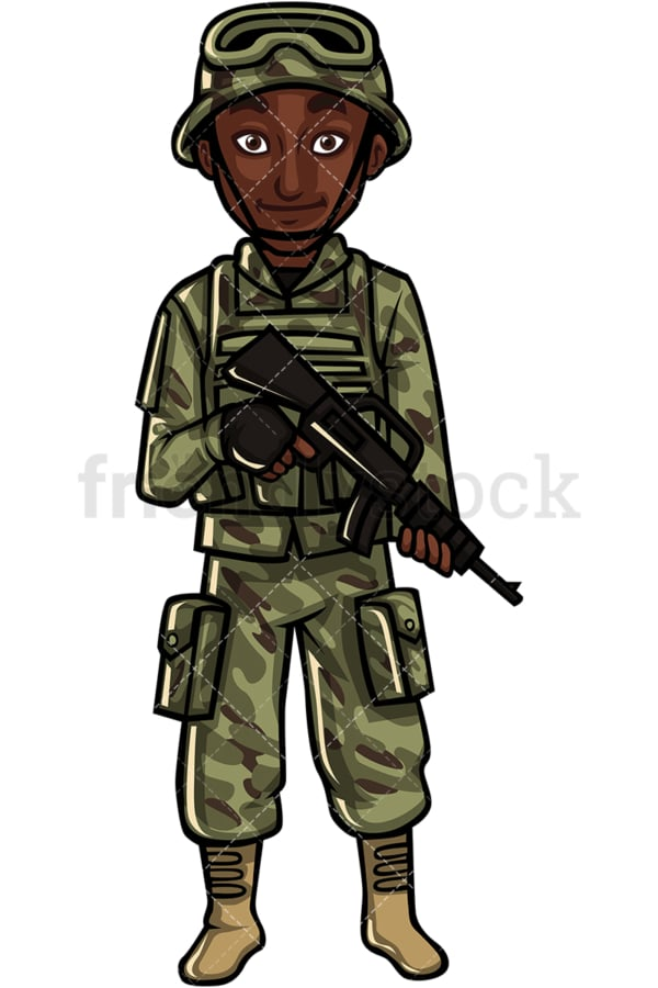 US Army African American tropper. PNG - JPG and vector EPS file formats (infinitely scalable). Image isolated on transparent background.