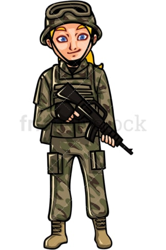 US armed forces woman soldier. PNG - JPG and vector EPS file formats (infinitely scalable). Image isolated on transparent background.
