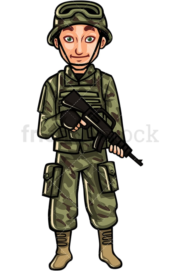 US armed forces field soldier. PNG - JPG and vector EPS file formats (infinitely scalable). Image isolated on transparent background.
