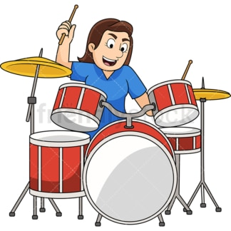 Woman playing drums. PNG - JPG and vector EPS file formats (infinitely scalable). Image isolated on transparent background.