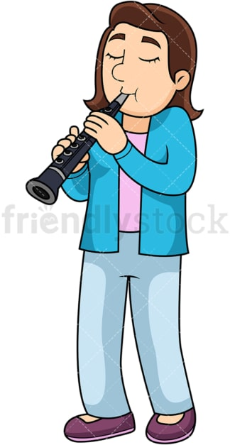 Woman playing the clarinet. PNG - JPG and vector EPS file formats (infinitely scalable). Image isolated on transparent background.