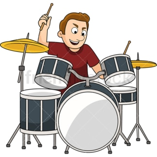 Man playing the drums. PNG - JPG and vector EPS file formats (infinitely scalable). Image isolated on transparent background.