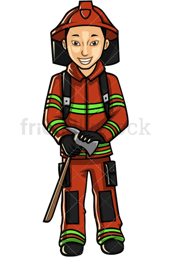Asian male firefighter. PNG - JPG and vector EPS file formats (infinitely scalable). Image isolated on transparent background.