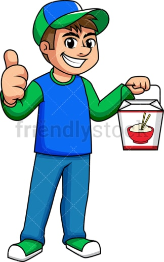 Asian food delivery boy thumbs up. PNG - JPG and vector EPS (infinitely scalable). Image isolated on transparent background.