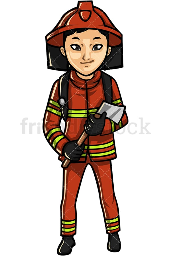 Asian female firefighter. PNG - JPG and vector EPS file formats (infinitely scalable). Image isolated on transparent background.