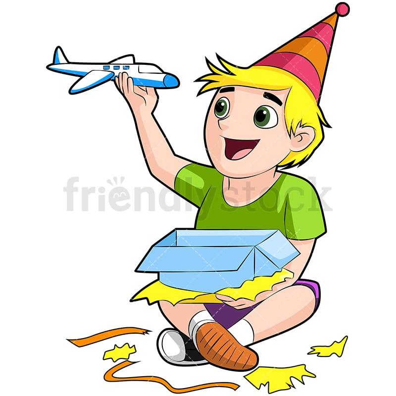 Birthday Boy Opening His Gift Cartoon Vector Clipart