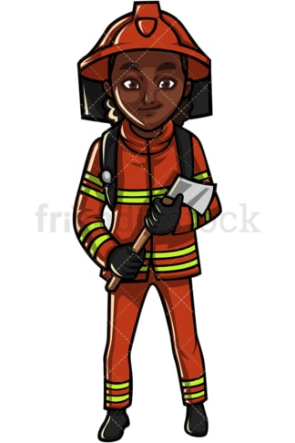 African American female firefighter. PNG - JPG and vector EPS file formats (infinitely scalable). Image isolated on transparent background.