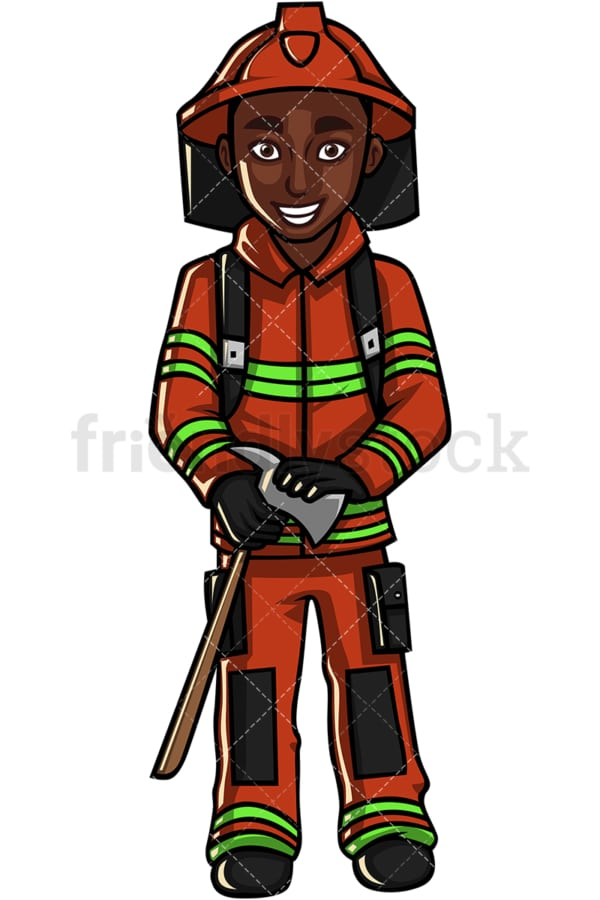 African American firefighter. PNG - JPG and vector EPS file formats (infinitely scalable). Image isolated on transparent background.