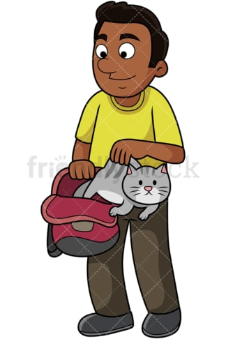 Black guy lets cat out of the bag. PNG - JPG and vector EPS file formats (infinitely scalable). Image isolated on transparent background.