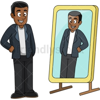 Black guy looking into mirror. PNG - JPG and vector EPS file formats (infinitely scalable). Image isolated on transparent background.