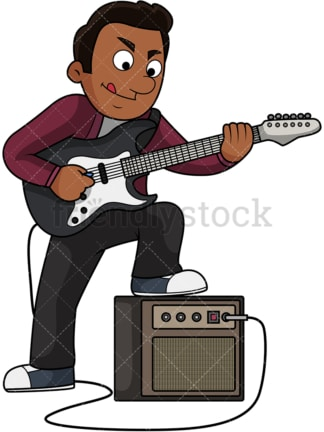 Black guy playing electric guitar. PNG - JPG and vector EPS file formats (infinitely scalable). Image isolated on transparent background.