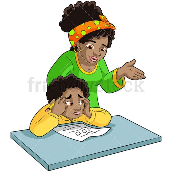 Black mom and son doing homework. PNG - JPG and vector EPS (infinitely scalable). Image isolated on transparent background.