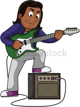 Black woman playing electric guitar. PNG - JPG and vector EPS file formats (infinitely scalable). Image isolated on transparent background.