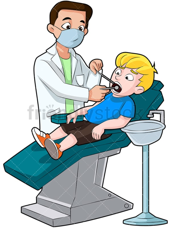 Child getting his teeth checked by dentist. PNG - JPG and vector EPS (infinitely scalable). Image isolated on transparent background.
