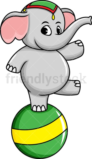 Circus elephant on ball. PNG - JPG and vector EPS (infinitely scalable). Image isolated on transparent background.