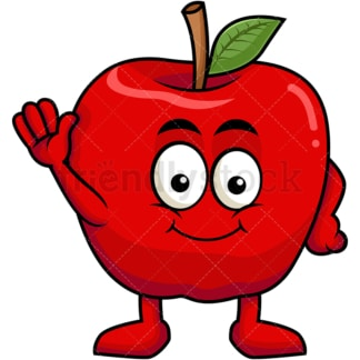 Cute apple cartoon character waving. PNG - JPG and vector EPS (infinitely scalable). Image isolated on transparent background.