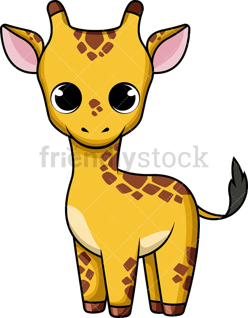 Cute Baby Giraffe Cartoon Vector Clipart - FriendlyStock