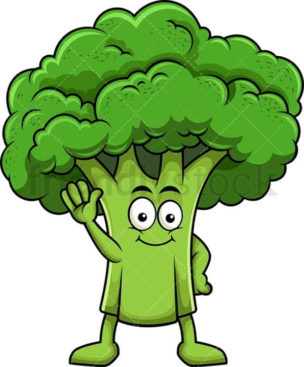 Cute broccoli cartoon character waving. PNG - JPG and vector EPS (infinitely scalable). Image isolated on transparent background.