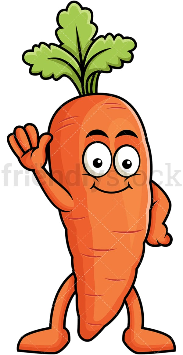 Cute carrot cartoon character waving. PNG - JPG and vector EPS (infinitely scalable). Image isolated on transparent background.