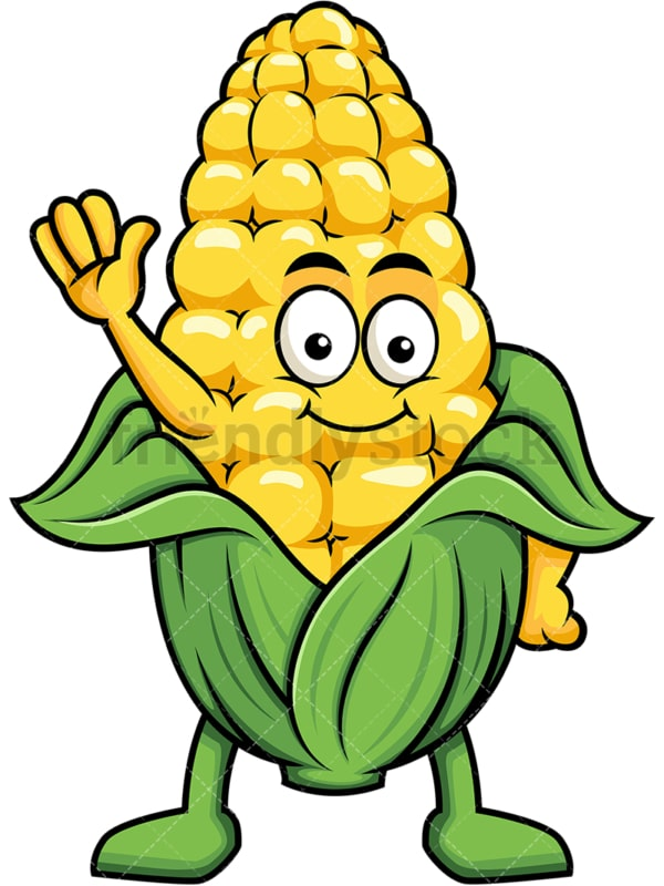 Cute maize cartoon character waving. PNG - JPG and vector EPS (infinitely scalable). Image isolated on transparent background.