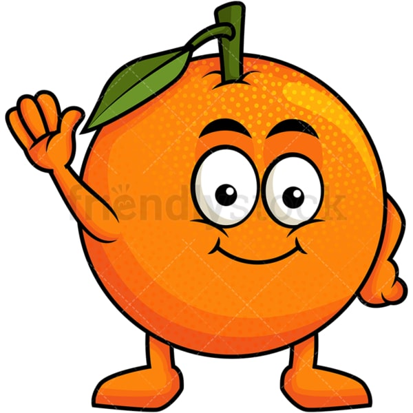 Cute orange cartoon character waving. PNG - JPG and vector EPS (infinitely scalable). Image isolated on transparent background.