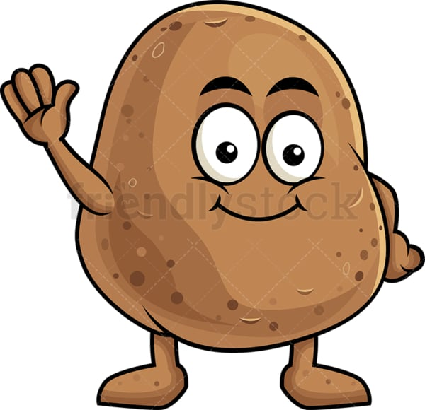 Cute potato cartoon character waving. PNG - JPG and vector EPS (infinitely scalable). Image isolated on transparent background.