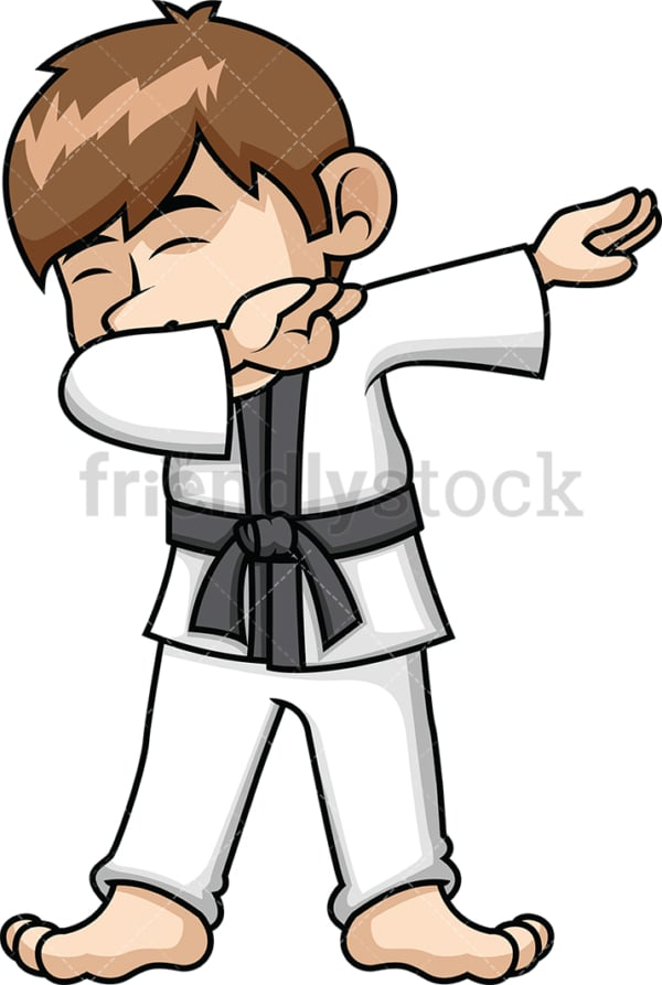 Karate kid doing the dab. PNG - JPG and vector EPS file formats (infinitely scalable). Image isolated on transparent background.
