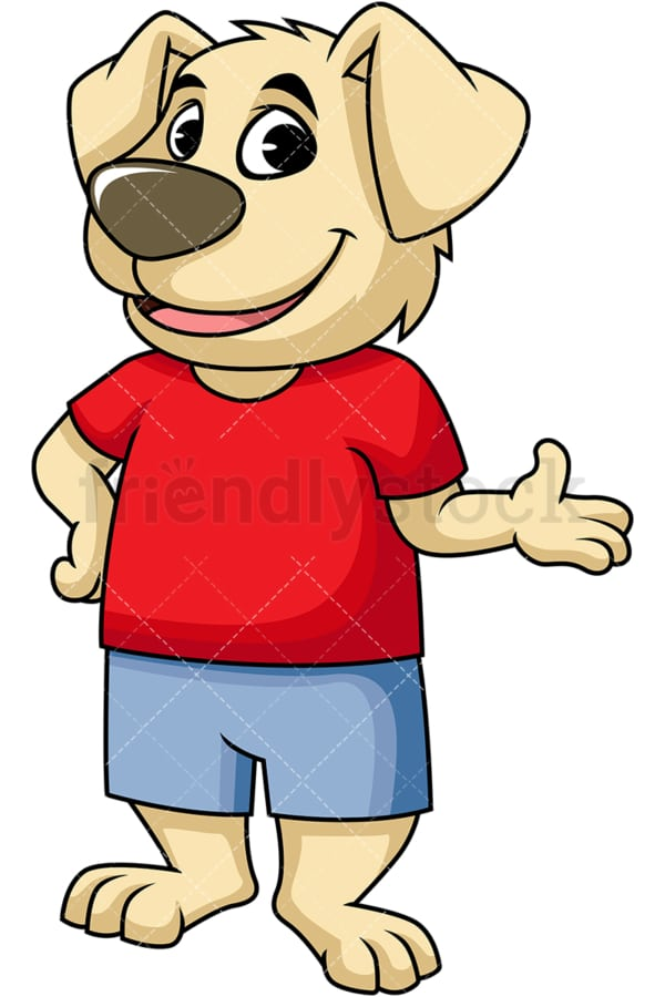 Dog cartoon character giving presentation. PNG - JPG and vector EPS (infinitely scalable). Image isolated on transparent background.