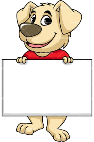 Dog cartoon character holding empty sign. PNG - JPG and vector EPS (infinitely scalable). Image isolated on transparent background.
