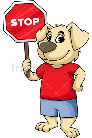 Dog cartoon character holding stop sign. PNG - JPG and vector EPS (infinitely scalable). Image isolated on transparent background.