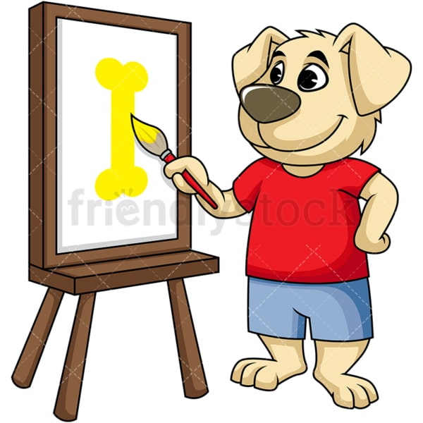 Dog cartoon character painting on canvas. PNG - JPG and vector EPS (infinitely scalable). Image isolated on transparent background.