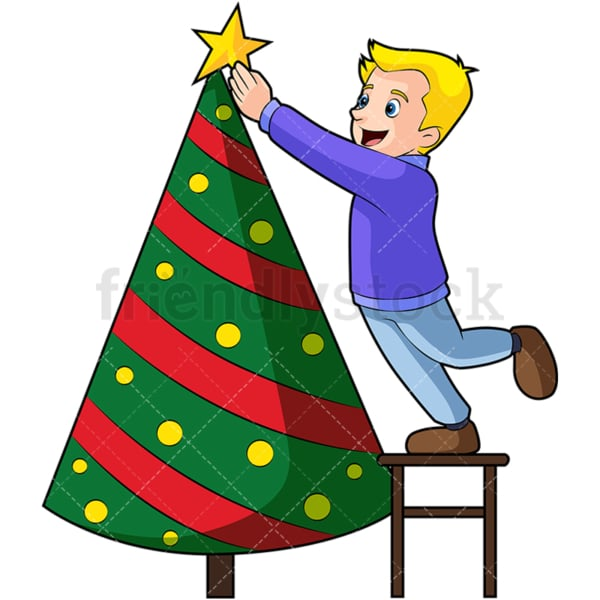 Little kid decorating christmas tree. PNG - JPG and vector EPS (infinitely scalable). Image isolated on transparent background.