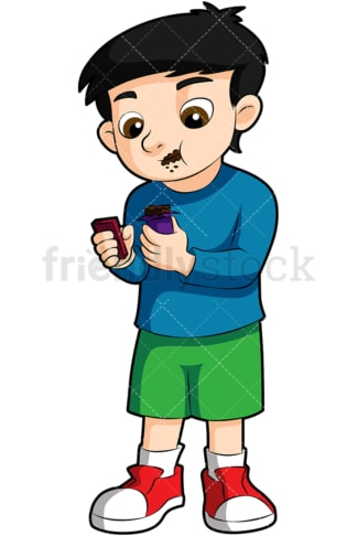 Little boy eating candy bar. PNG - JPG and vector EPS (infinitely scalable). Image isolated on transparent background.