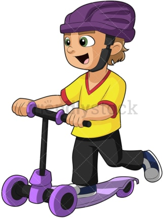 Little boy riding scooter. PNG - JPG and vector EPS (infinitely scalable). Image isolated on transparent background.
