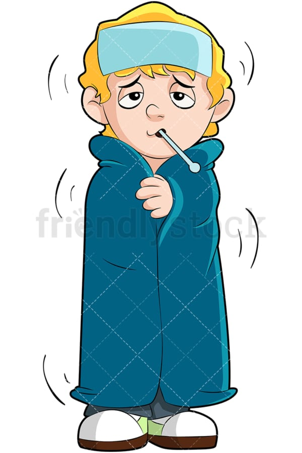 Feverish little kid covered in blanket. PNG - JPG and vector EPS (infinitely scalable). Image isolated on transparent background.