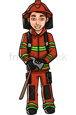 Young man firefighter. PNG - JPG and vector EPS file formats (infinitely scalable). Image isolated on transparent background.