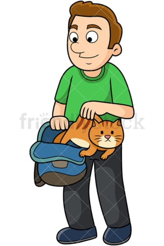 Man letting cat out of bag. PNG - JPG and vector EPS file formats (infinitely scalable). Image isolated on transparent background.