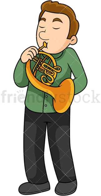 Man playing the french horn. PNG - JPG and vector EPS file formats (infinitely scalable). Image isolated on transparent background.