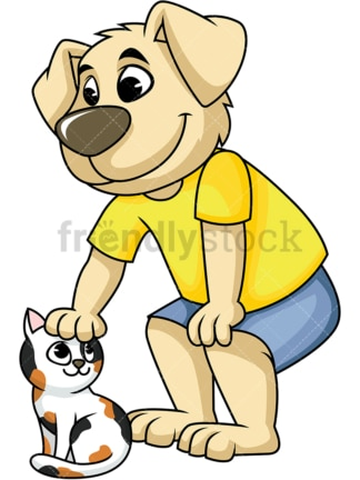 Dog character petting cat. PNG - JPG and vector EPS (infinitely scalable). Image isolated on transparent background.